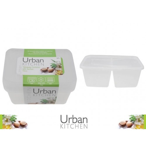 Take Away Container Sectioned 750ml 4pk 175 X 122 X 56mm