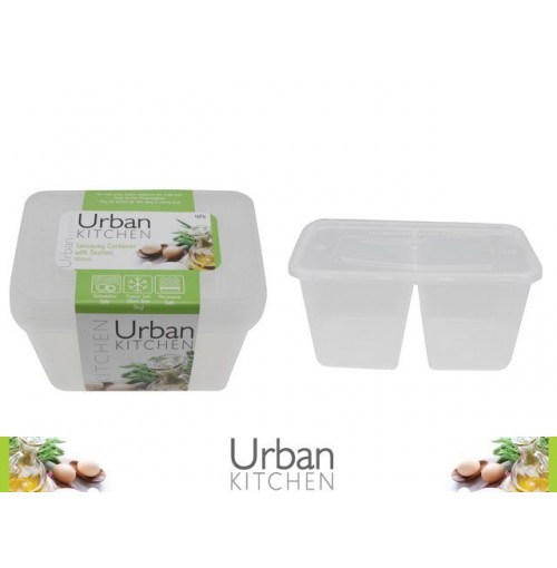 Take Away Container Sectioned 950ml 4pk 175 X 122 X 72mm