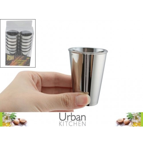 Platinum Plastic Shot Glass 12pc Acetate Box 60ml