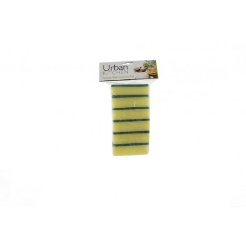 Sponge W/Scouring Pad 6pc Deluxe
