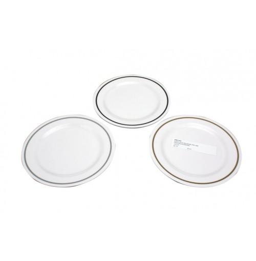 Pin Line Plate 20cm Melamine Grey/Black/Brown