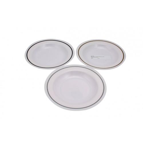 Pin Line Bowl Soup 23cm Melamine Grey/Black/Brown