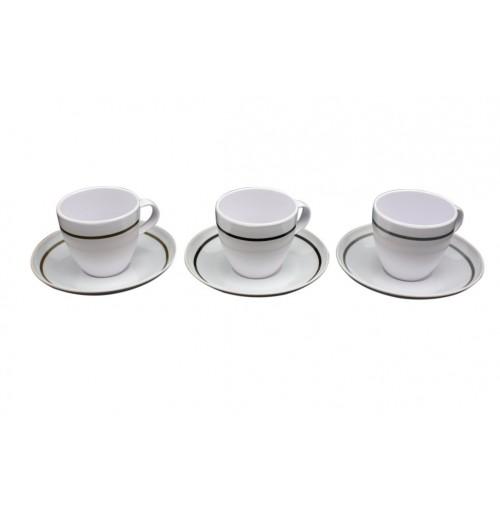 Pin Line Tea Cup &Amp; Saucer Melamine Grey/Black/Brown
