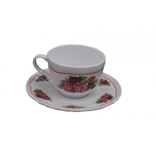 Vintage Flower Tea Cup &Amp; Saucer Melamine