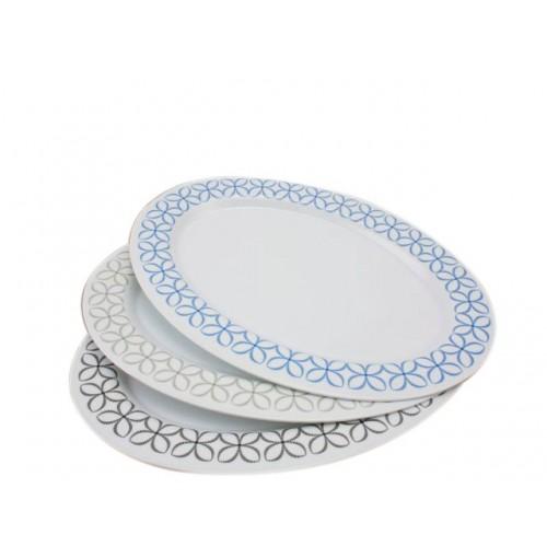 Melamine Oval Platter 36c Leaf Design 3cols Blk Blue Grey