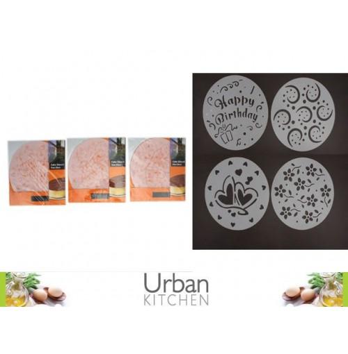 Cake Stencils Variety Pack 4pc 20cm