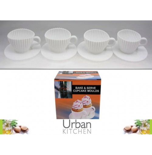 Silicone Teacup &Saucer Cupcakes Bake & Serve 4pk