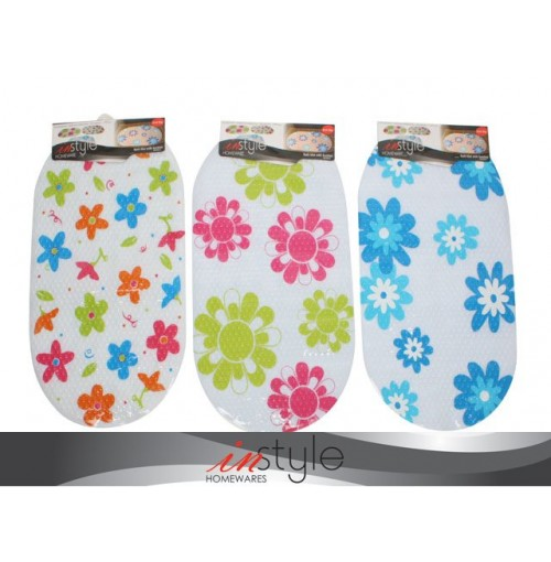 Bath Mat W/Suction Pvc Floral 69x39cm Solid