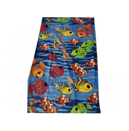 Printed Beach Towels Fish 90x165cm