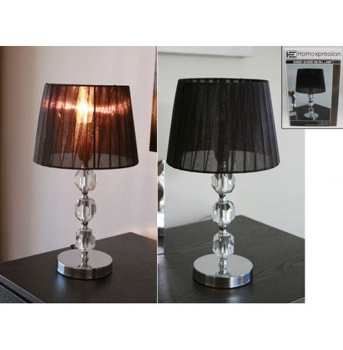 Metal Lamp 3 Glass Balls Sheer Shade 21.5x21.5x39.5xcm
