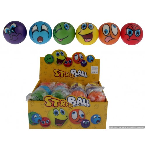 Coloured Funny Face Pu Stress Ball In Display 6cm