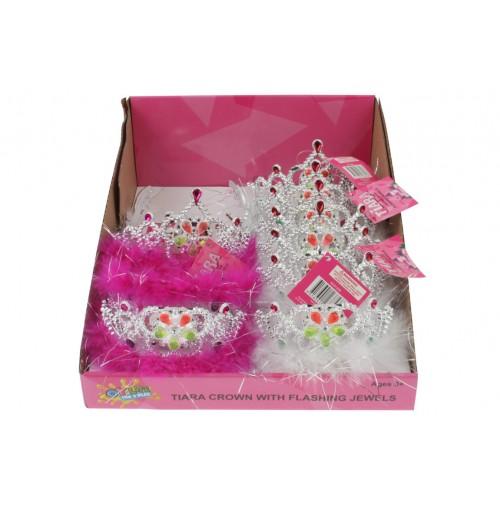 Tiara Tinsel Crown W/Flashing Jewels In Dis Box