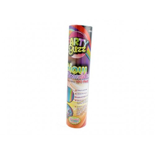 Glowsticks In Tube 100pcs W/100 Connectors 20cm 6 Assorted Colors