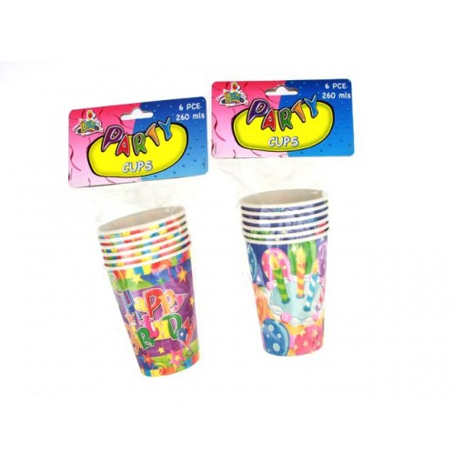 Birthday Cup 6pk 260ml Swirl & Shine