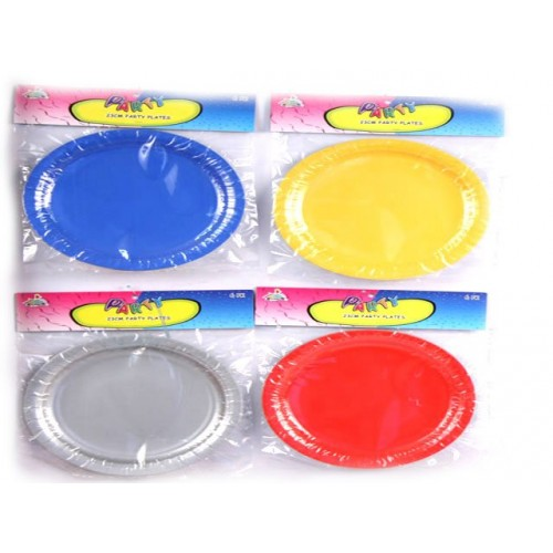 Party Plate 6 Pcs 4 Assorted Solid Colour