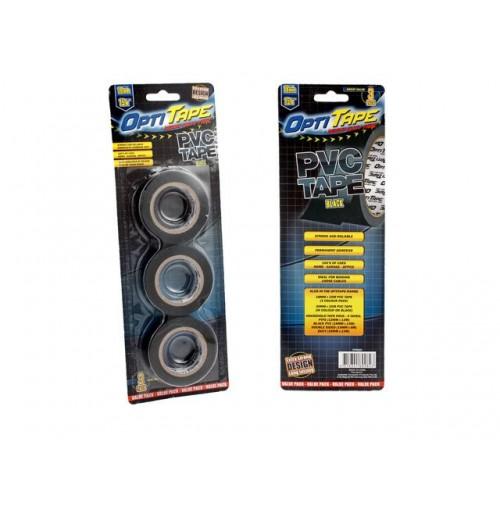 Opti Tape Pvc Black 3pk 15m Blister Pack