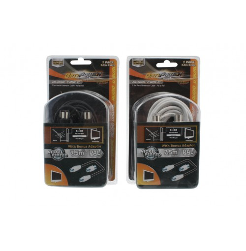 Opti Power Aerial Extension Cable 7.5m Pal To Pal 2pce