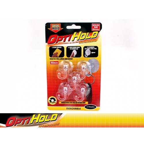 Opti Hold Hooks Suction Clear 5pk 500g Removable