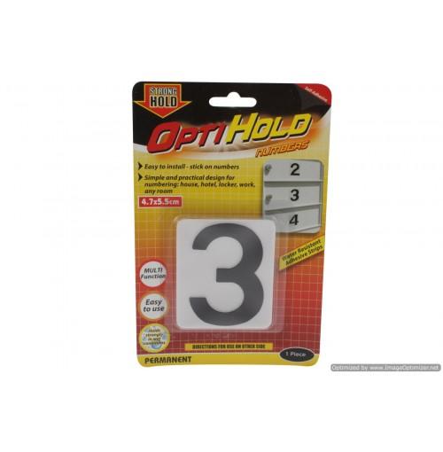 Opti Hold Number Three Blk On White 4.7 X 5.5cm