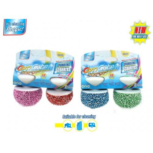 Opti Clean Scouers With Hndle 2pk Asst Colour Sparkling Des