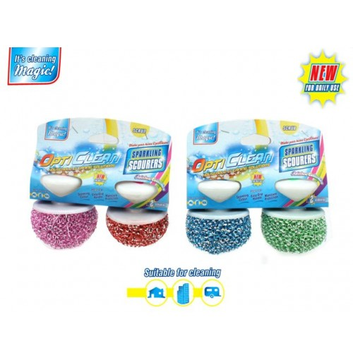 Opti Clean Scouers With Hndle 2pk Asst Colour Sparkling Des