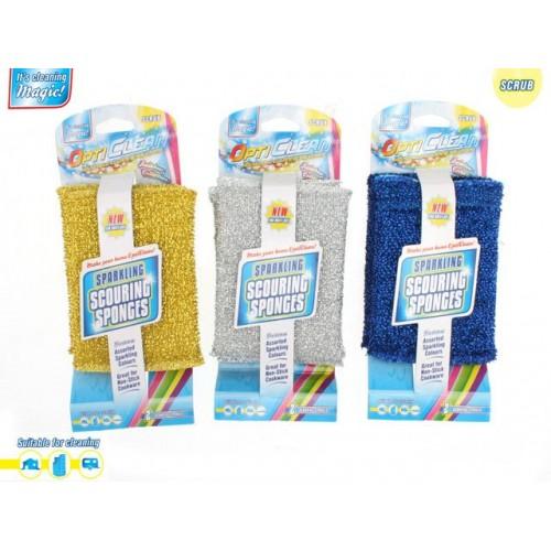 Opti Clean Scubbing Sponge 2pk Metallic 3 Asst Sparkling Des