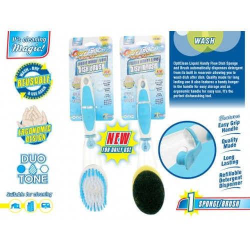 Opti Clean Dish Brush / Sponge With Detergent Holder 2 Asst