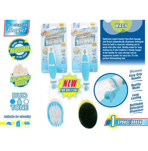 Opti Clean Dish Brush / Sponge With Detergent Holder 2 Asst