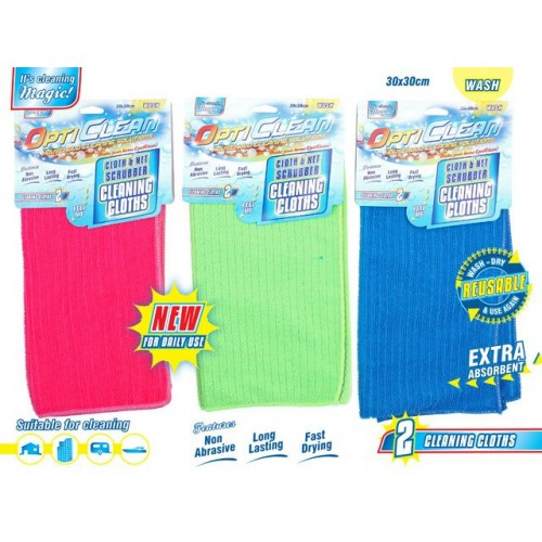 Opti Clean Deluxe Scrubbing Dish Cloth Netted 2 Pack