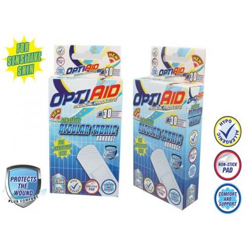 Opti Aid Sensitive Bandage 30pk 7.2x1.9cm