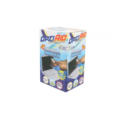 Opti Aid Lens Cleaning 12pce Towelette 12x20cm