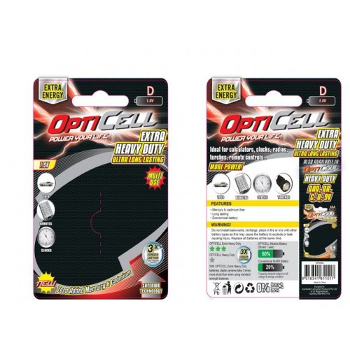 Opti Cell Extra Heavy Duty D Batteries 2pk
