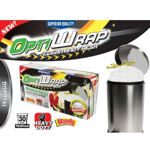 Opti Wrap Kitchen Drawstring Bag Large 12pk 49l