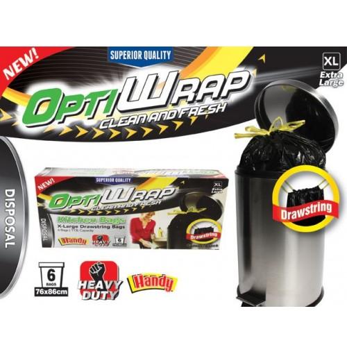 Opti Wrap Kitchen Drawstring Bag 6pk X Large 113l
