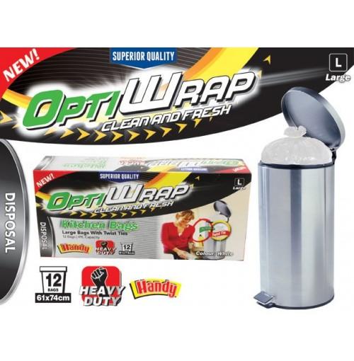 Opti Wrap Kitchen Bag 12pk White Twist Tie Large 49l