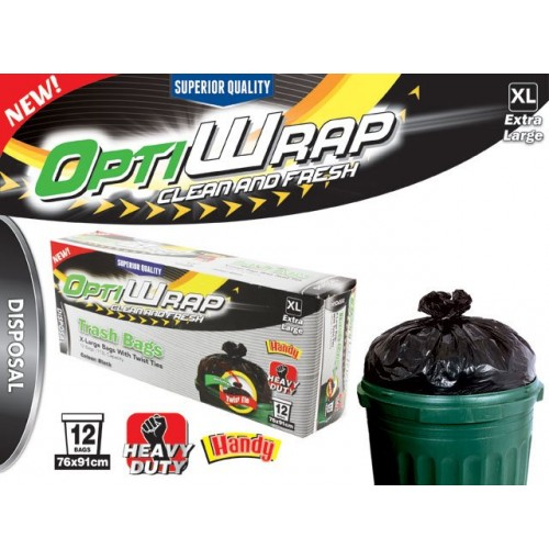 Opti Wrap Trash Bag Heavy Duty Blk Twist Tie 12pk X Lge 113l