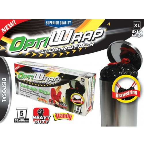 Opti Wrap Garbage Bag Embossed Blk Drawstring 5p Xlge 113l