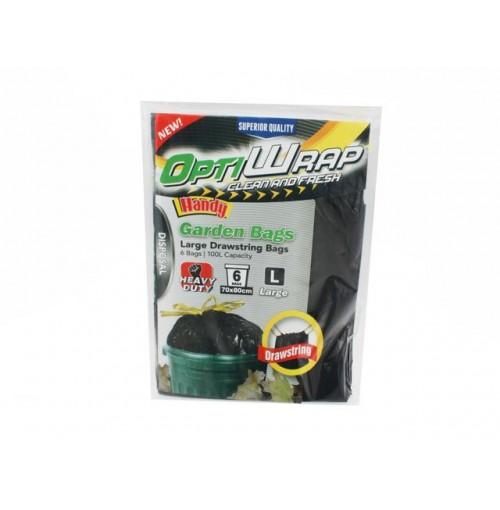 Opti Wrap Garden Bags Hd 6pk Pull Tight Closure 80 X 70cm