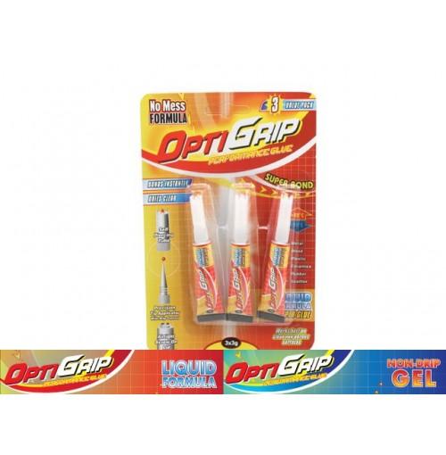 Opti Grip Super Glue Liquid 3pk X 3grams
