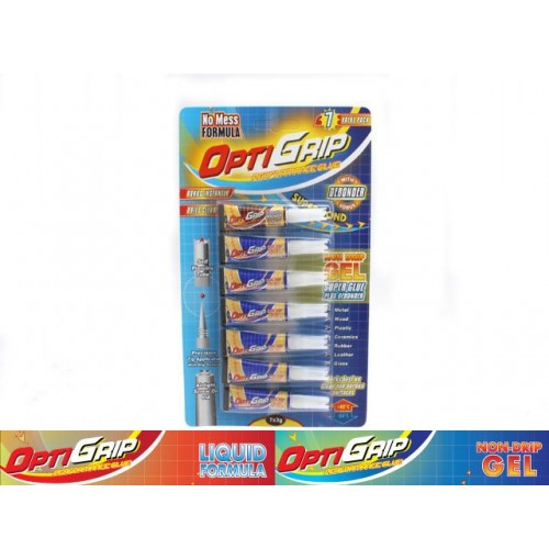 Opti Grip Super Glue Gel Formula 7pk Incl Debonder 3gm