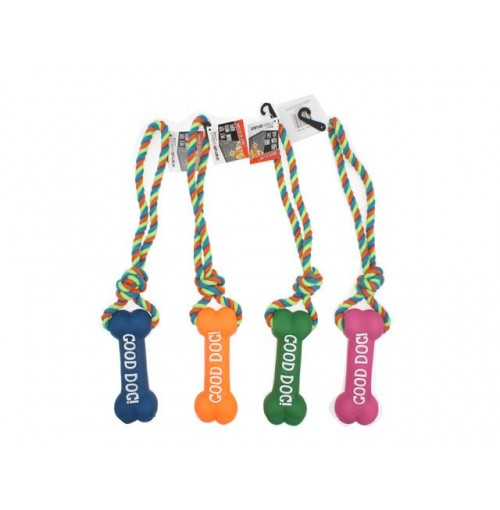 Pet Toy Rope With Rubber Chew Asst Col And Des