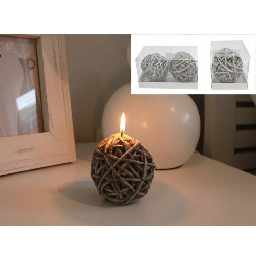 Knitting Wool Ball Candles Set Of 2
