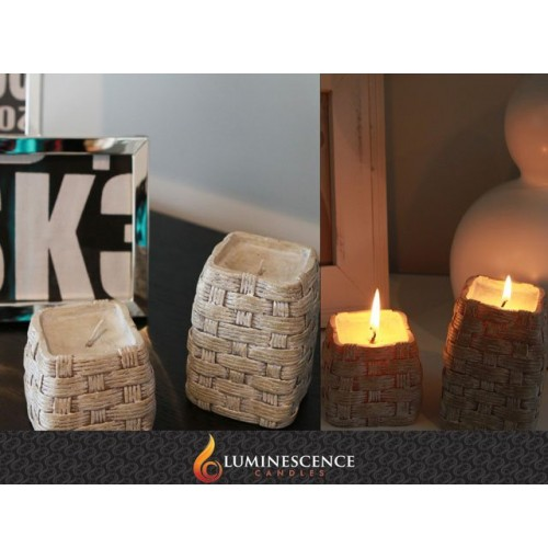 Woven Square Barrel Candles Set Of 2