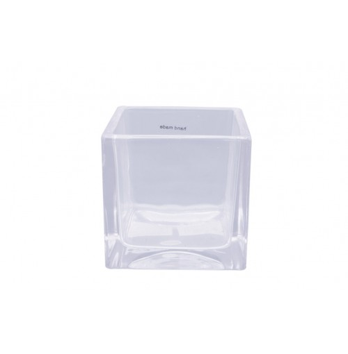 Clear Glass T/Light Holder Cube 8x8x8cm