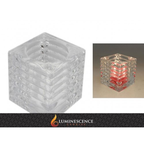 Clear Rib Cube Candle Holder 7.5x7.5x7.7cm