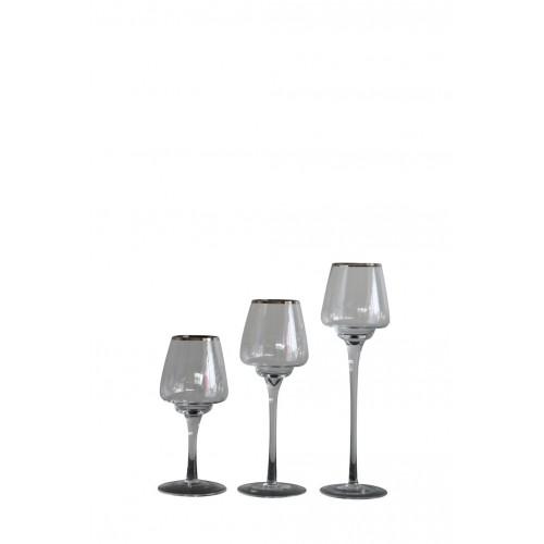 Bailey Brandy C T/Light Holder Glass D/8cm H/30cm
