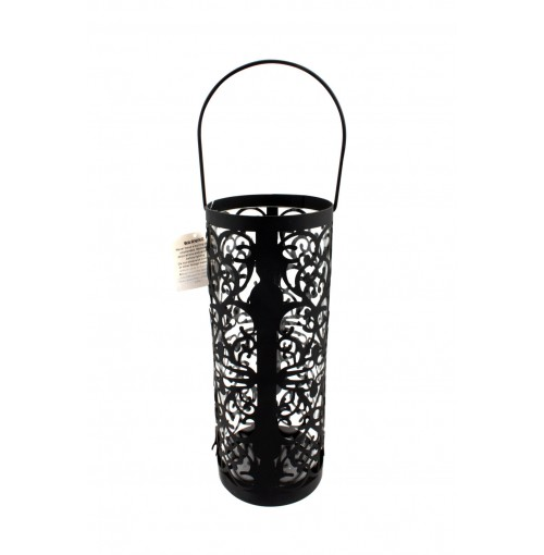 Cylinder Cut Out Lantern Lrg Blk/Whte 12.5x32cm Matt Finish