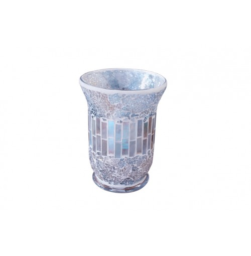 Natural Mosaic Candle Holder Lrg Hurricane14.5x20cm