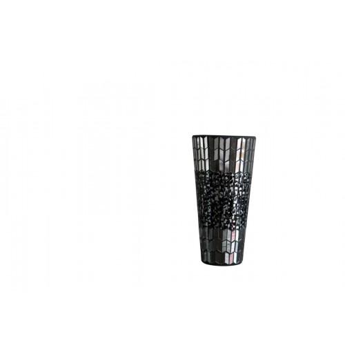 Dark Mosaic Vase Shape Sml Hurricane D/12cm H/25cm