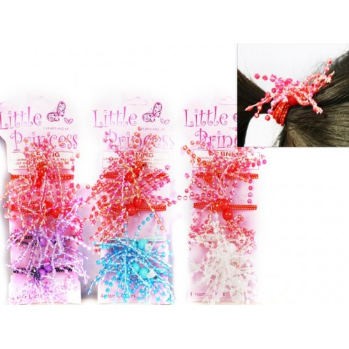Hair Lackies 4pk W/Sparkle Bobble Beads
